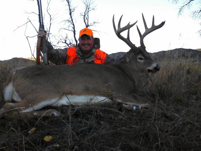 Hunter with large deer