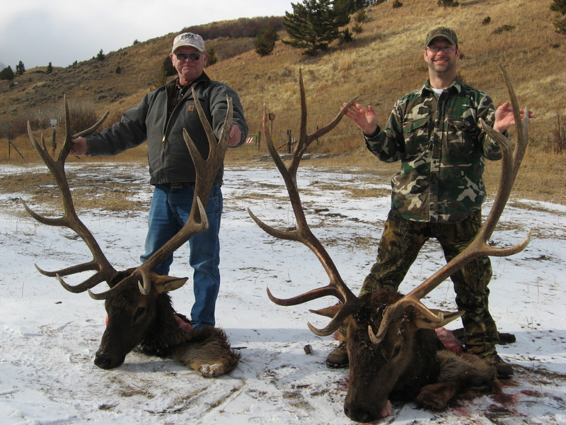 Hunters with large elk